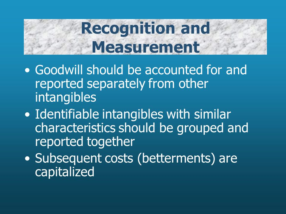 Valuation of Intangible Assets Purchased Internally- Created Intangibles Specifically Identifiable Expense, except direct costs Goodwill type assets Expense Specifically Identifiable Goodwill- type assets Capitalize Deferred Charges Capitalize Restricted Amounts