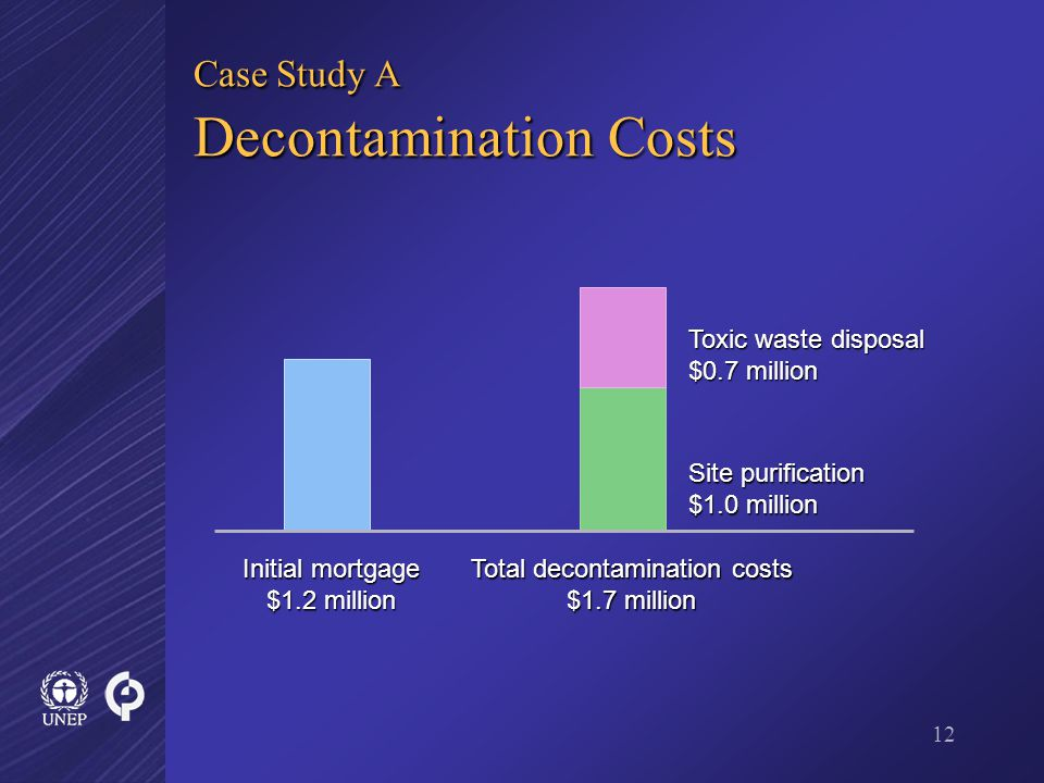 12 Case Study A Decontamination Costs Site purification $1.0 million Toxic waste disposal $0.7 million Total decontamination costs $1.7 million Initial mortgage $1.2 million