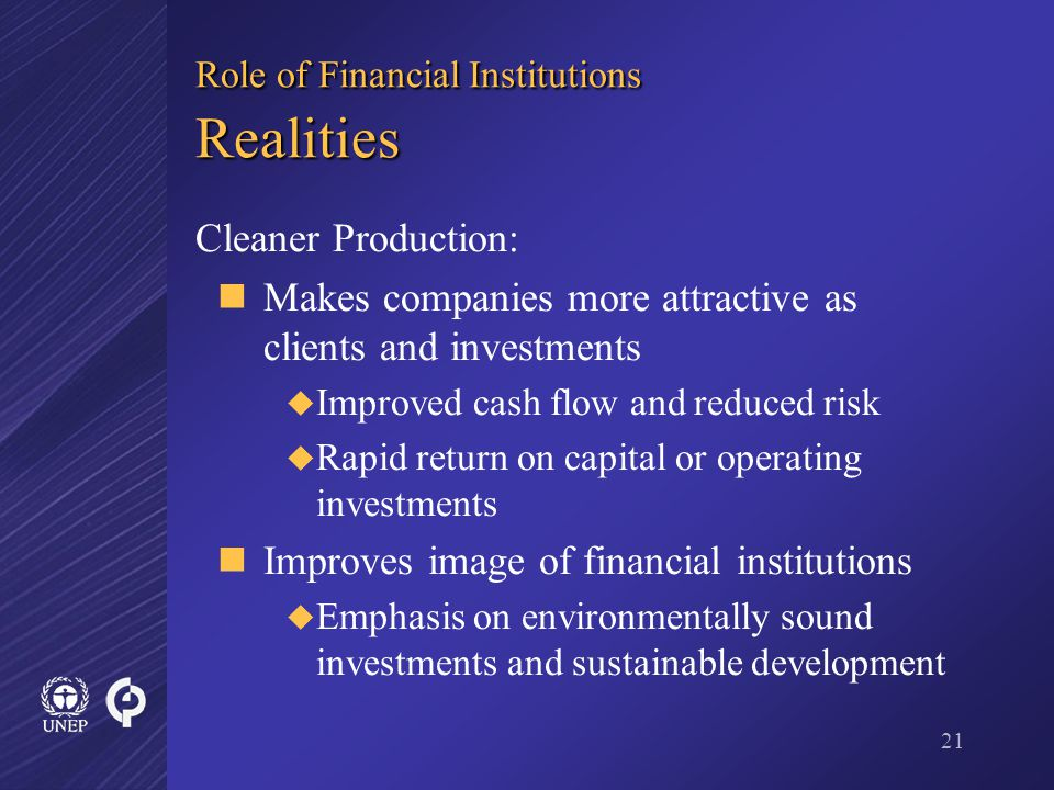 21 Role of Financial Institutions Realities Cleaner Production: Makes companies more attractive as clients and investments  Improved cash flow and reduced risk  Rapid return on capital or operating investments Improves image of financial institutions  Emphasis on environmentally sound investments and sustainable development