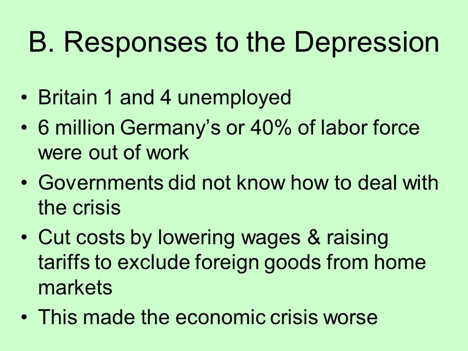 A. Causes of the Depression Oct. 1929, the U.S. stock market crashed, and the prices of stocks plunged In a panic, U.S. investors withdrew even more m