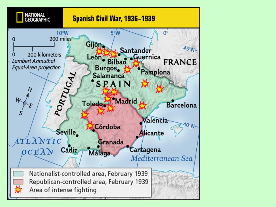 B. Spain Spanish Republican party aided by the Soviet Union with trucks, volunteers, tanks, and military advisers. Civil War came to an end with Franc