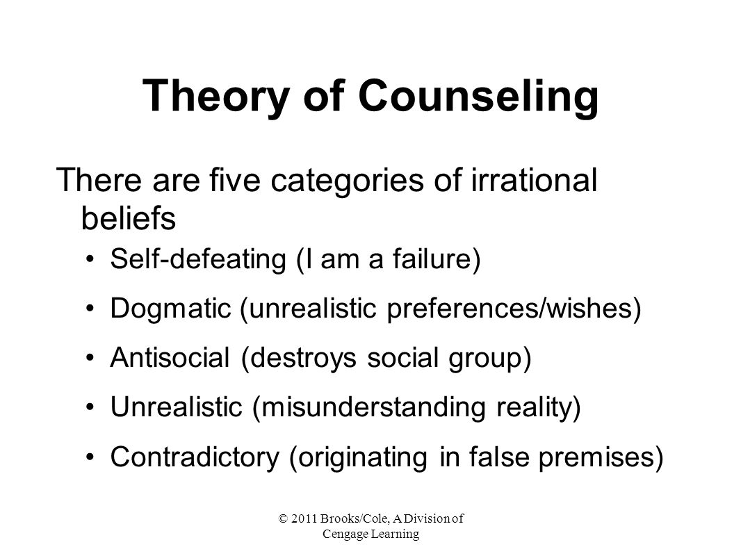 © 2011 Brooks/Cole, A Division of Cengage Learning Theory of Counseling There are five categories of irrational beliefs Self-defeating (I am a failure) Dogmatic (unrealistic preferences/wishes) Antisocial (destroys social group) Unrealistic (misunderstanding reality) Contradictory (originating in false premises)