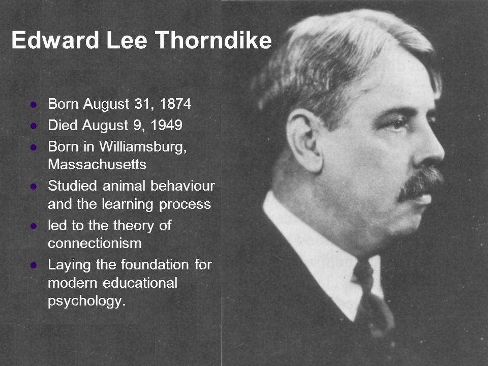 Edward Lee Thorndike Born August 31, 1874 Died August 9, 1949 Born in Williamsburg, Massachusetts Studied animal behaviour and the learning process led to the theory of connectionism Laying the foundation for modern educational psychology.