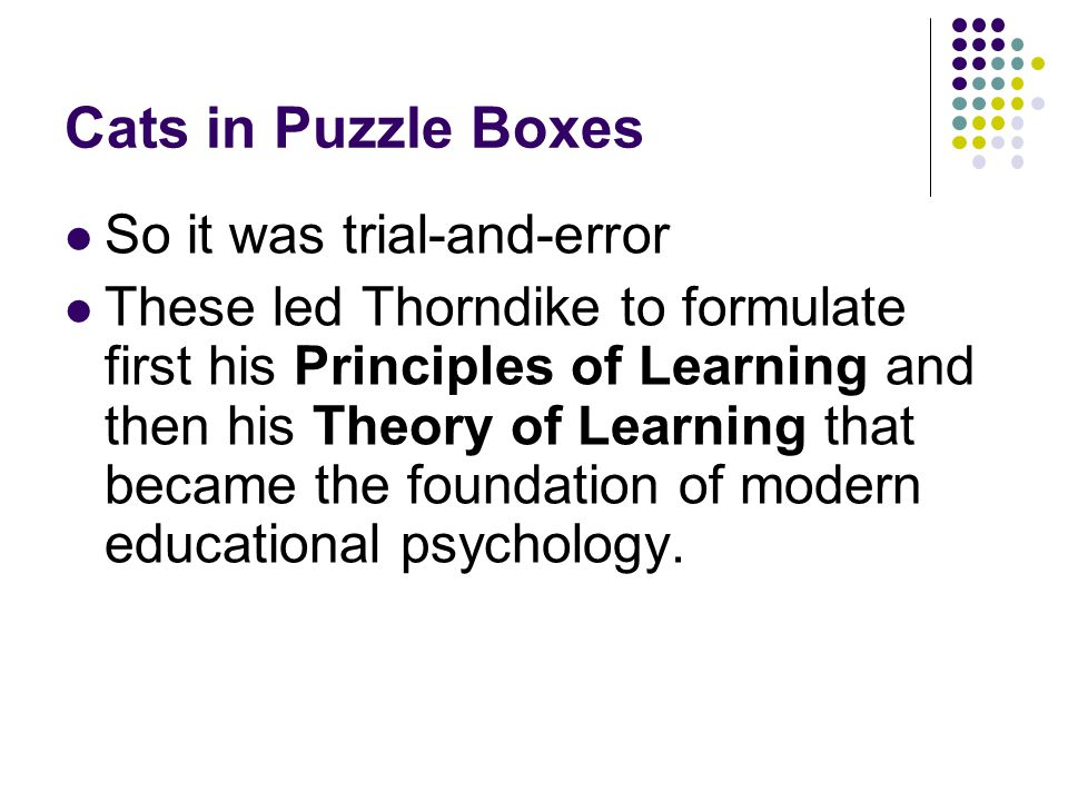 Cats in Puzzle Boxes So it was trial-and-error These led Thorndike to formulate first his Principles of Learning and then his Theory of Learning that became the foundation of modern educational psychology.