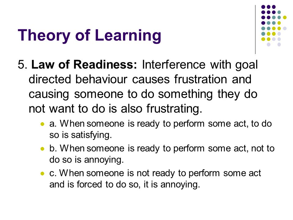 Theory of Learning 5.