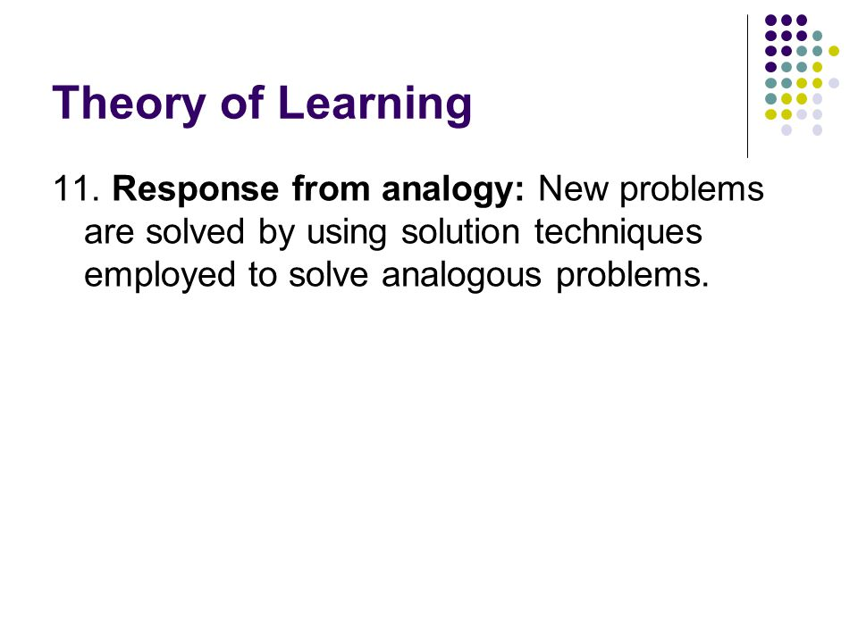 Theory of Learning 11.