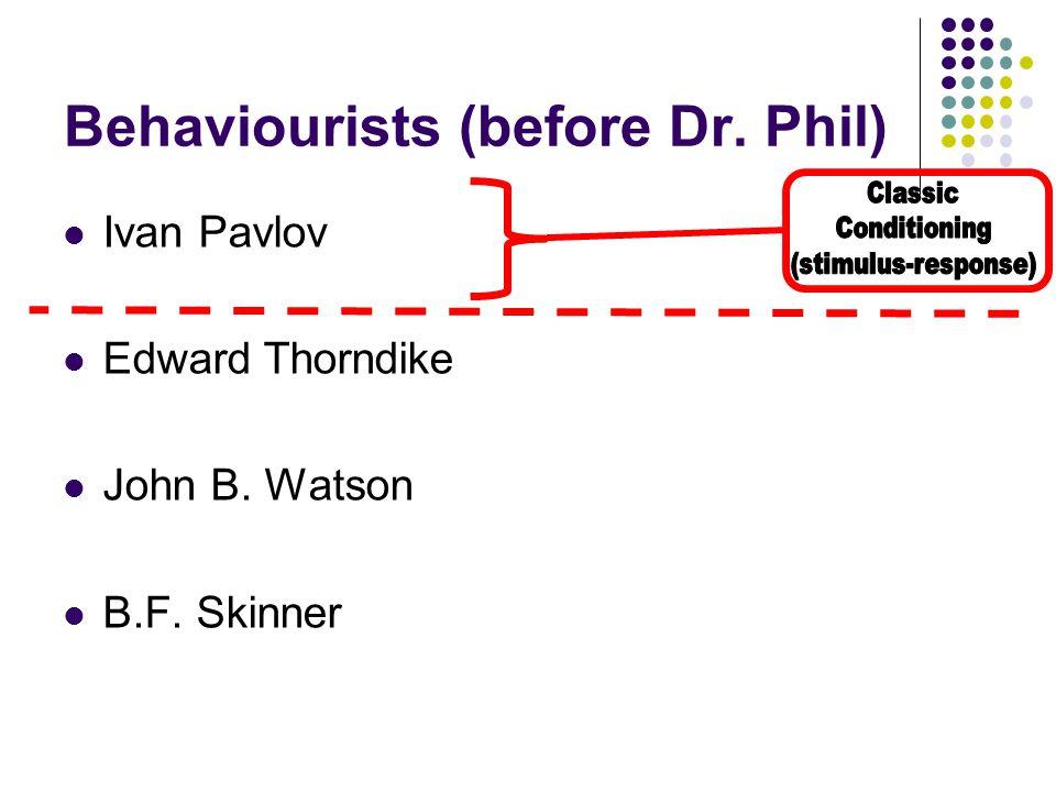 Ivan Pavlov Edward Thorndike John B. Watson B.F. Skinner Behaviourists (before Dr. Phil)