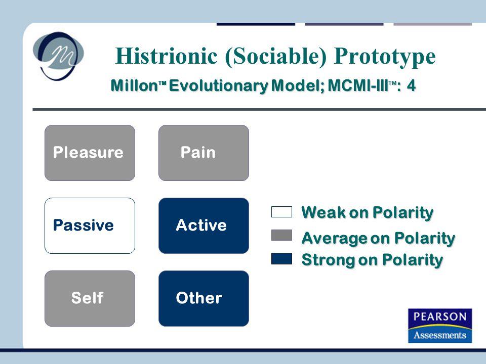 PleasurePain PassiveActive SelfOther Millon TM Evolutionary Model; MCMI-III TM : 4 Millon TM Evolutionary Model; MCMI-III TM : 4 Weak on Polarity Aver