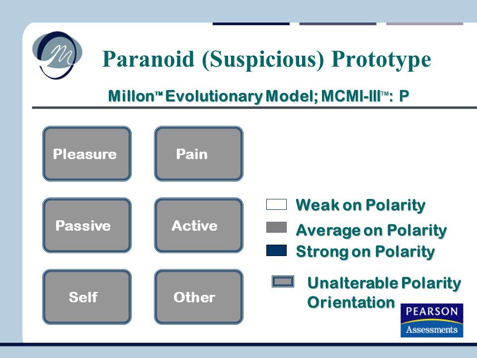 PleasurePain PassiveActive SelfOther Unalterable Polarity Orientation Paranoid (Suspicious) Prototype Millon TM Evolutionary Model; MCMI-III TM : P Mi