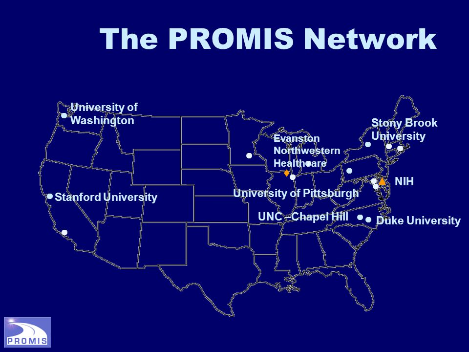 The PROMIS Network ● ● ● ● ♦ ● ● ● ● ● ● ● ● ● ● ▲ University of Washington Stanford University University of Pittsburgh UNC –Chapel Hill Evanston Northwestern Healthcare NIH Duke University Stony Brook University
