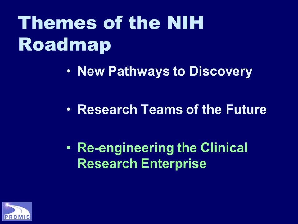 Themes of the NIH Roadmap New Pathways to Discovery Research Teams of the Future Re-engineering the Clinical Research Enterprise