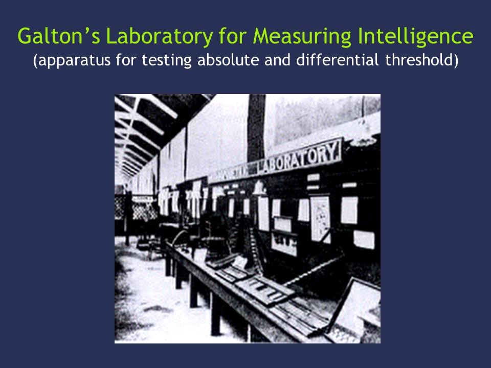 Galton's Laboratory for Measuring Intelligence (apparatus for testing absolute and differential threshold)
