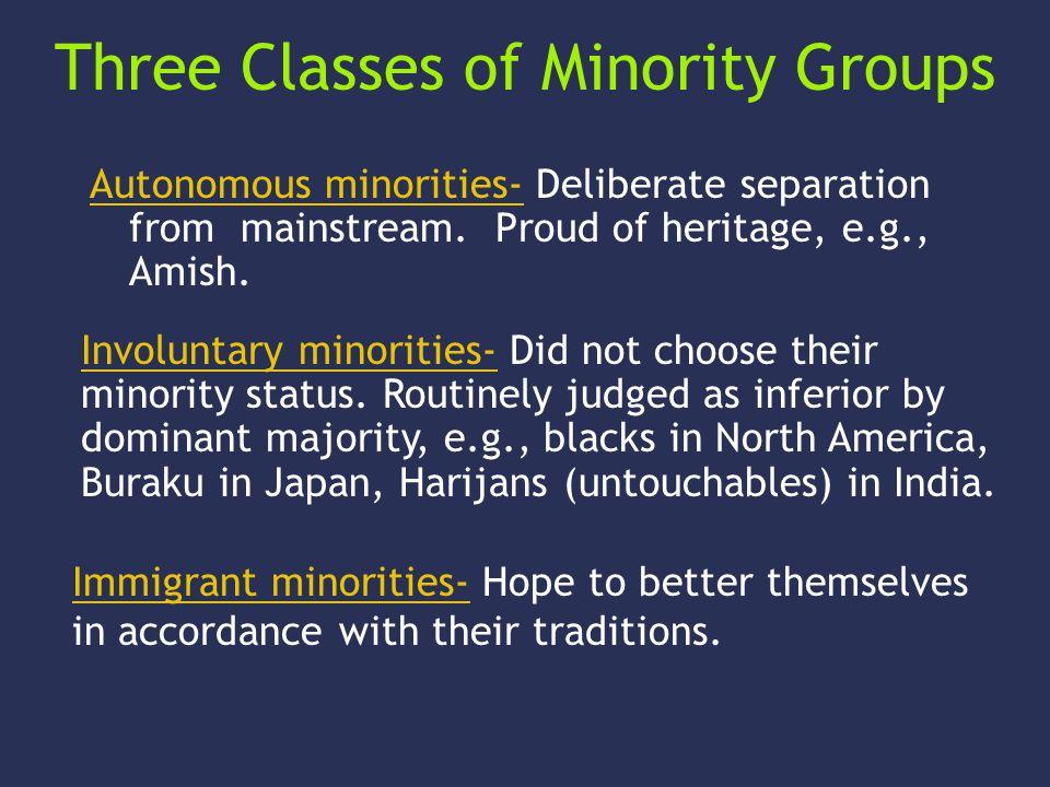 Three Classes of Minority Groups Autonomous minorities- Deliberate separation from mainstream. Proud of heritage, e.g., Amish. Involuntary minorities-