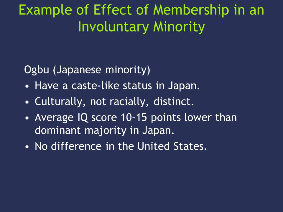 Example of Effect of Membership in an Involuntary Minority Ogbu (Japanese minority) Have a caste-like status in Japan.