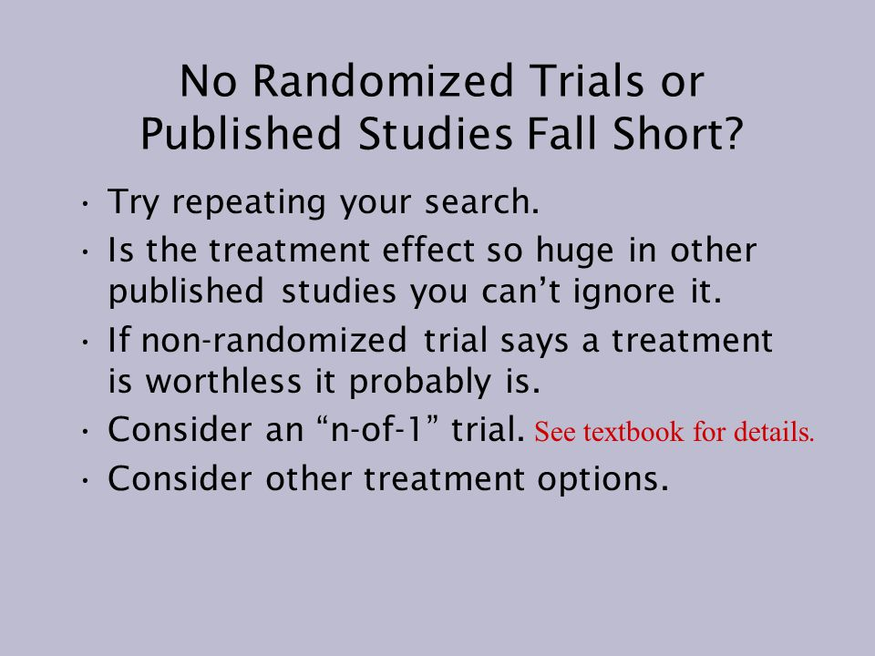 No Randomized Trials or Published Studies Fall Short.