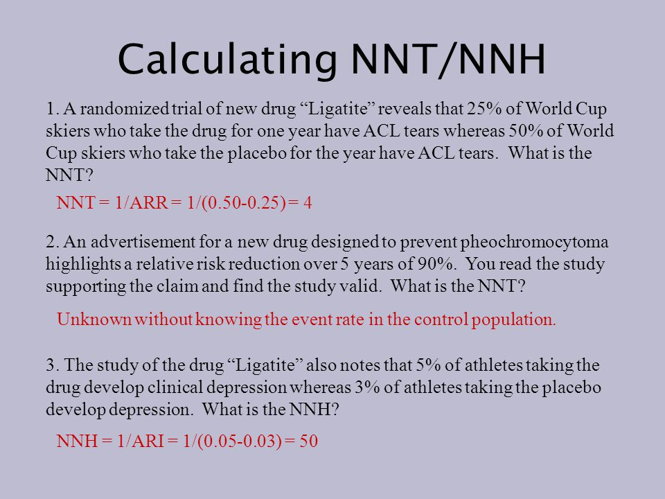 Examples of NNT http://www.cebm.utoronto.ca/glossary/nnts.htm#table