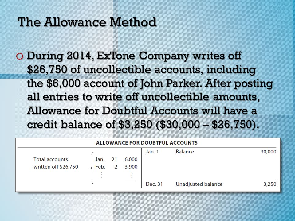 The Allowance Method o During 2014, ExTone Company writes off $26,750 of uncollectible accounts, including the $6,000 account of John Parker.