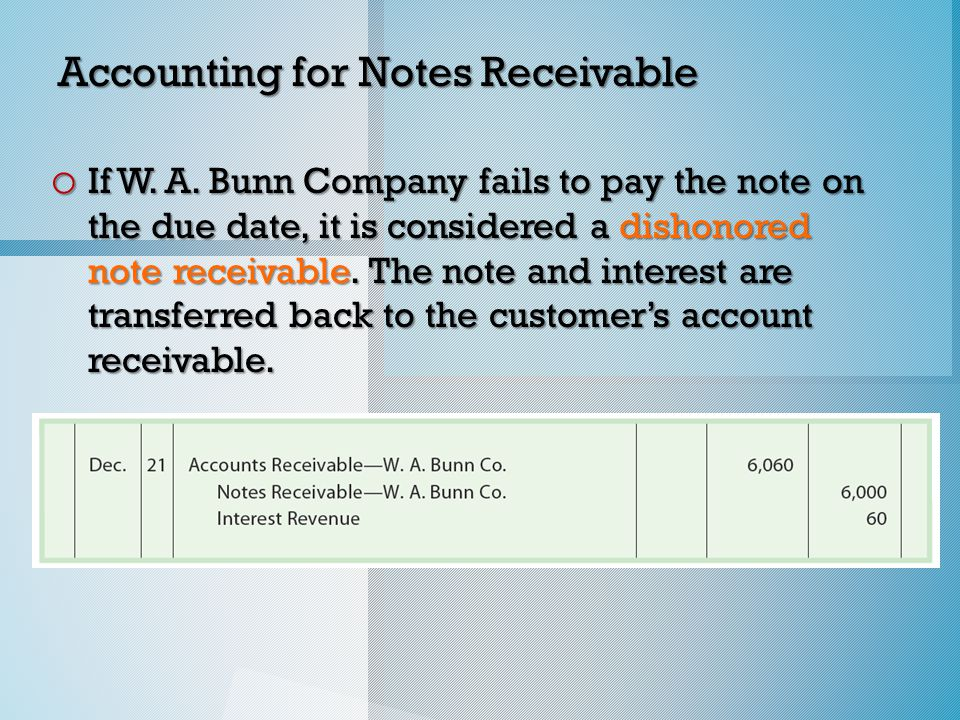 Accounting for Notes Receivable o If W. A.