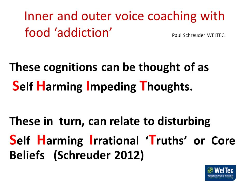 Inner and outer voice coaching with food 'addiction' Paul Schreuder WELTEC These cognitions can be thought of as S elf H arming I mpeding T houghts.