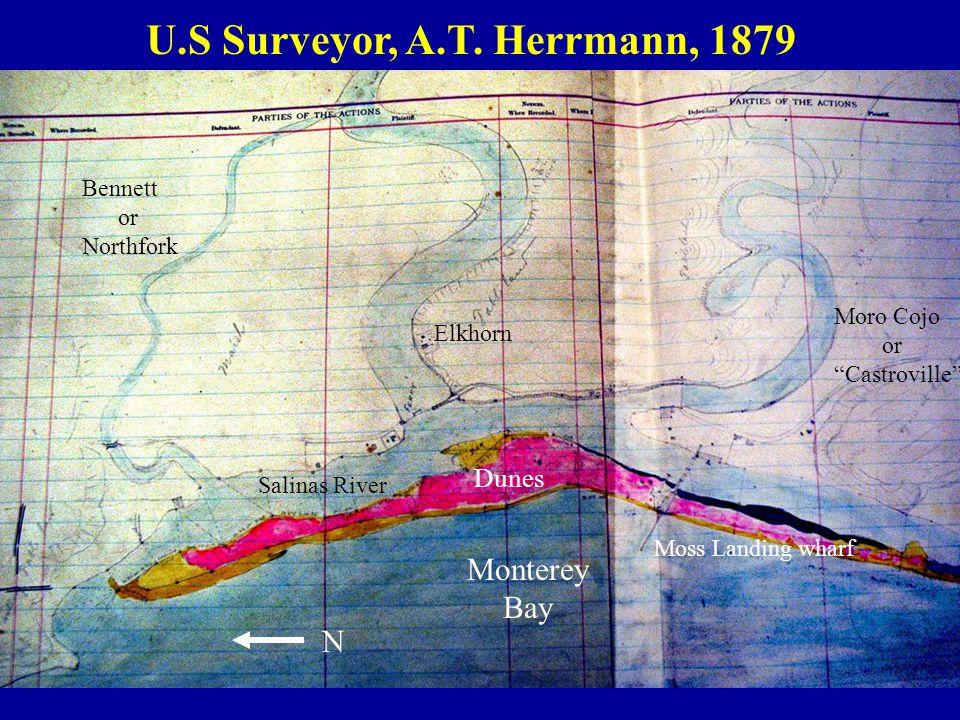 """U.S Surveyor, A.T. Herrmann, 1879 Salinas River Moro Cojo or """"Castroville"""" Elkhorn Bennett or Northfork N Monterey Bay Dunes Moss Landing wharf"""