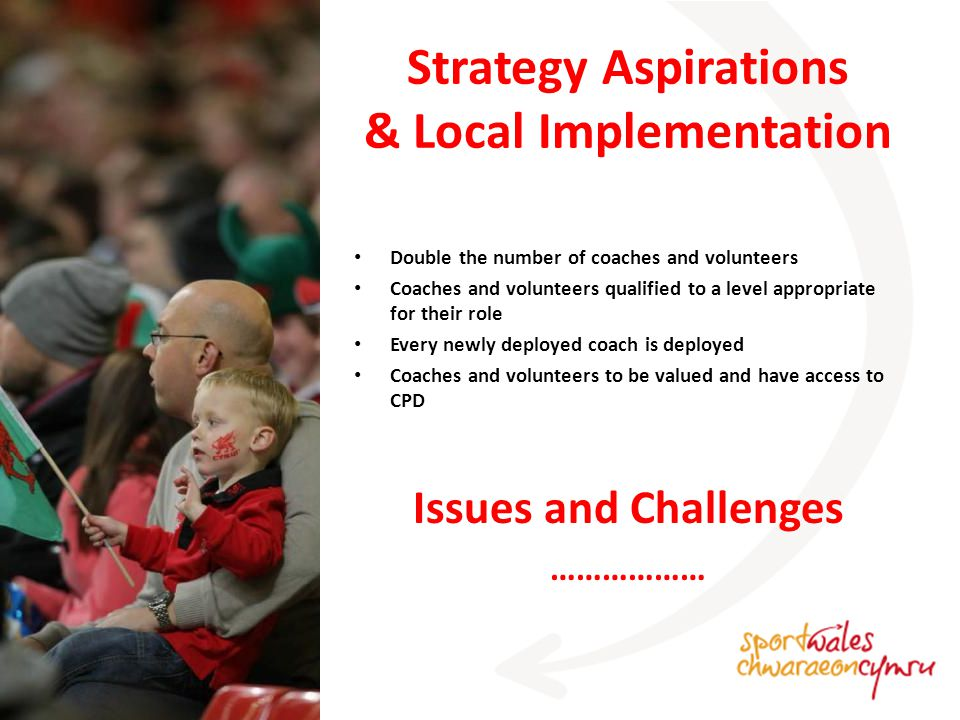 Strategy Aspirations & Local Implementation Double the number of coaches and volunteers Coaches and volunteers qualified to a level appropriate for their role Every newly deployed coach is deployed Coaches and volunteers to be valued and have access to CPD Issues and Challenges ………………