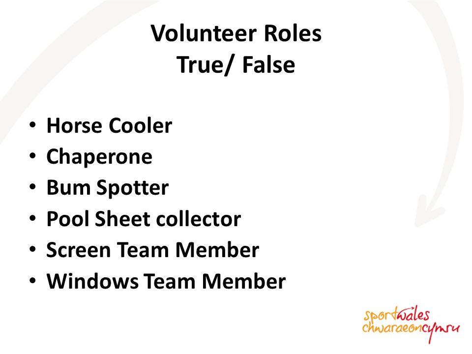 Volunteer Roles True/ False Horse Cooler Chaperone Bum Spotter Pool Sheet collector Screen Team Member Windows Team Member