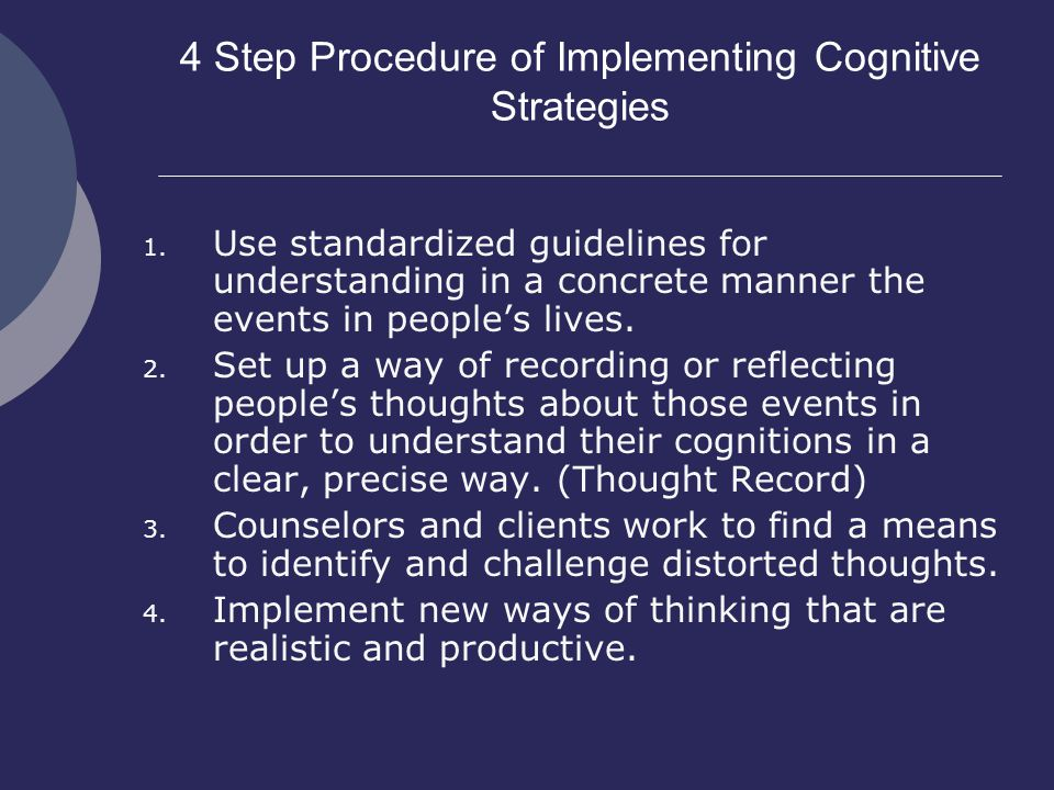 4 Step Procedure of Implementing Cognitive Strategies 1.
