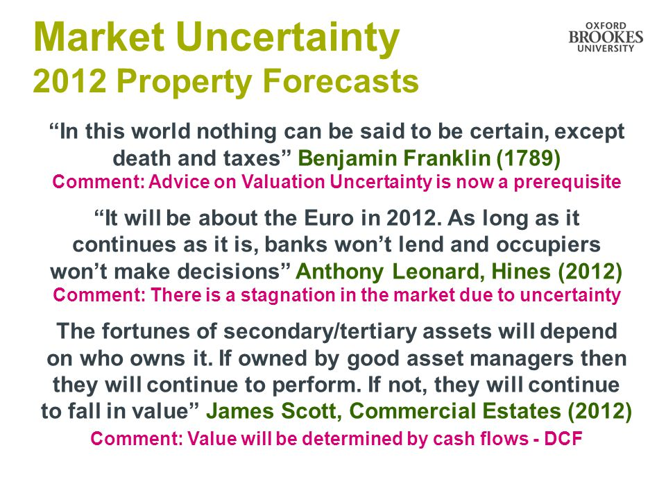 On a micro-level, a lot of tertiary and secondary stock (in the M4 corridor) will become worthless Miff Chichester, St Congar Properties (2012) Comment: Reversionary value will be critical NOT YP perp The pressure on the banks in terms of capital requirements and liquidity is going to become very intensive.