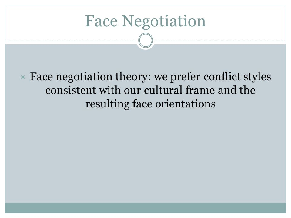 Face Negotiation 12  Face negotiation theory: we prefer conflict styles consistent with our cultural frame and the resulting face orientations