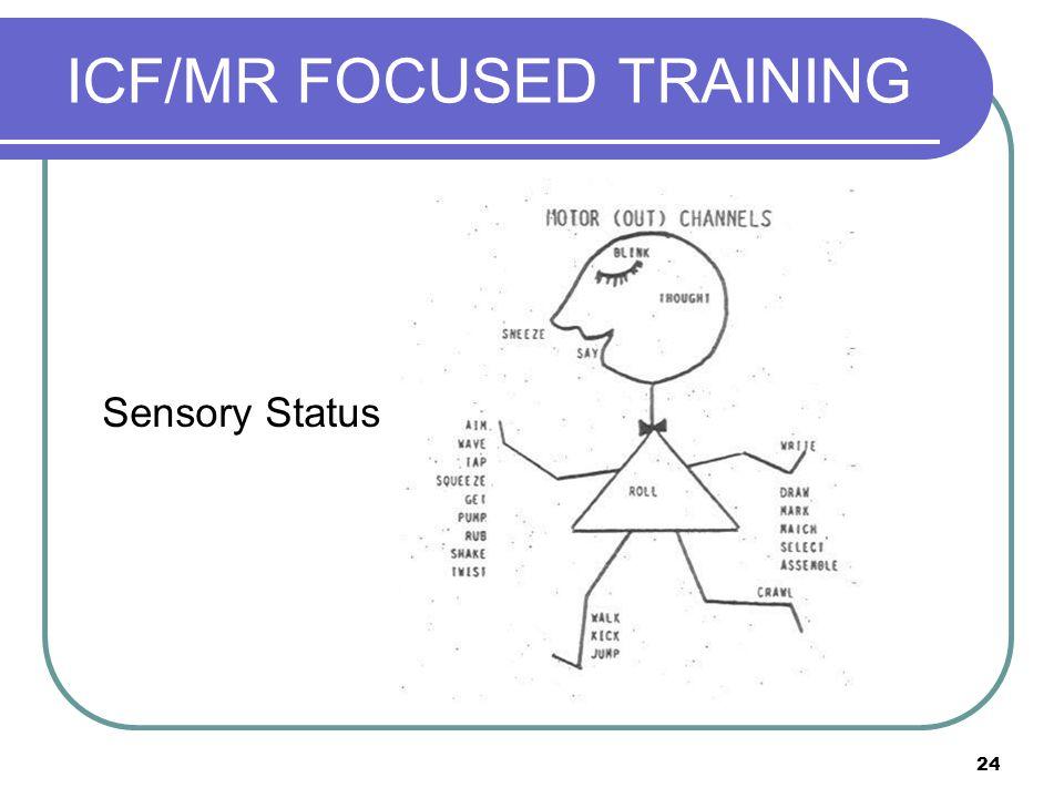 24 ICF/MR FOCUSED TRAINING Sensory Status