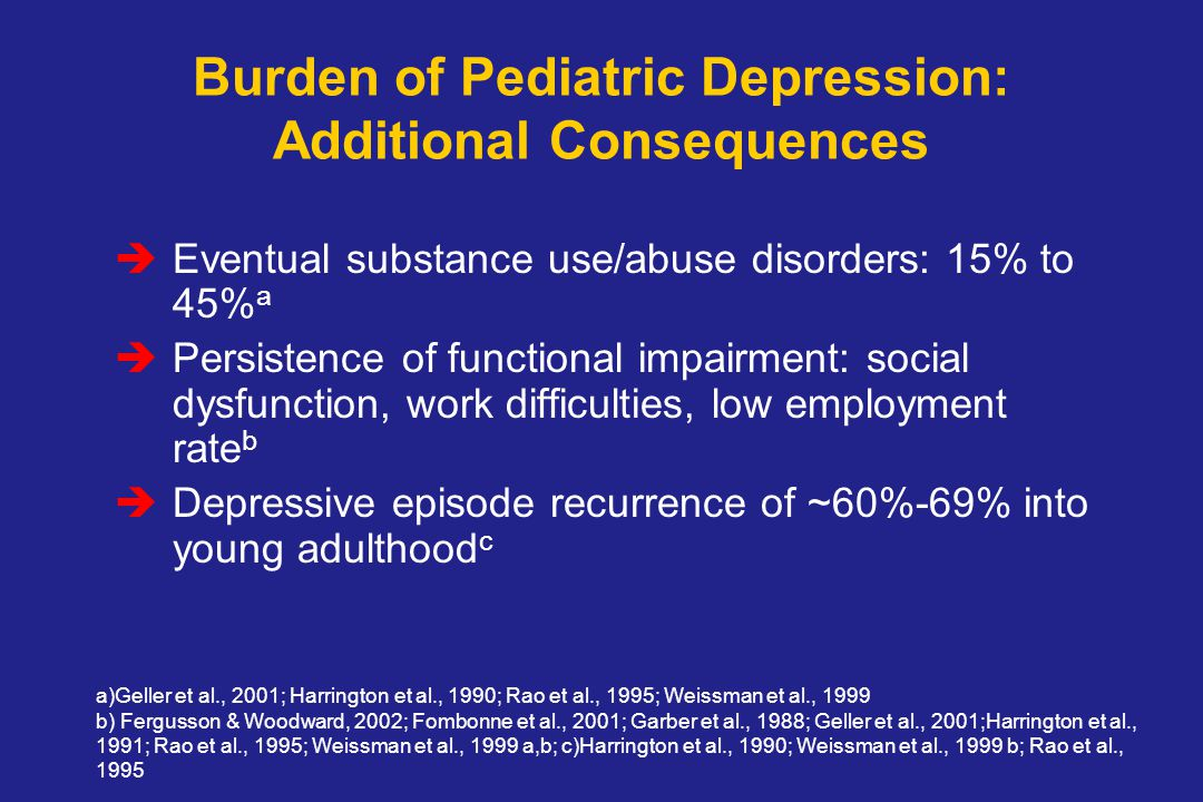 Burden of Pediatric Depression: Additional Consequences  Eventual substance use/abuse disorders: 15% to 45% a  Persistence of functional impairment: social dysfunction, work difficulties, low employment rate b  Depressive episode recurrence of ~60%-69% into young adulthood c a)Geller et al., 2001; Harrington et al., 1990; Rao et al., 1995; Weissman et al., 1999 b) Fergusson & Woodward, 2002; Fombonne et al., 2001; Garber et al., 1988; Geller et al., 2001;Harrington et al., 1991; Rao et al., 1995; Weissman et al., 1999 a,b; c)Harrington et al., 1990; Weissman et al., 1999 b; Rao et al., 1995