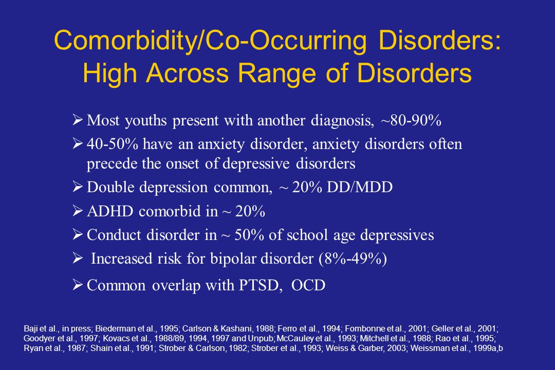 Comorbidity/Co-Occurring Disorders: High Across Range of Disorders  Most youths present with another diagnosis, ~80-90%  40-50% have an anxiety disorder, anxiety disorders often precede the onset of depressive disorders  Double depression common, ~ 20% DD/MDD  ADHD comorbid in ~ 20%  Conduct disorder in ~ 50% of school age depressives  Increased risk for bipolar disorder (8%-49%)  Common overlap with PTSD, OCD Baji et al., in press; Biederman et al., 1995; Carlson & Kashani, 1988; Ferro et al., 1994; Fombonne et al., 2001; Geller et al., 2001; Goodyer et al., 1997; Kovacs et al., 1988/89, 1994, 1997 and Unpub; McCauley et al., 1993; Mitchell et al., 1988; Rao et al., 1995; Ryan et al., 1987; Shain et al., 1991; Strober & Carlson, 1982; Strober et al., 1993; Weiss & Garber, 2003; Weissman et al., 1999a,b