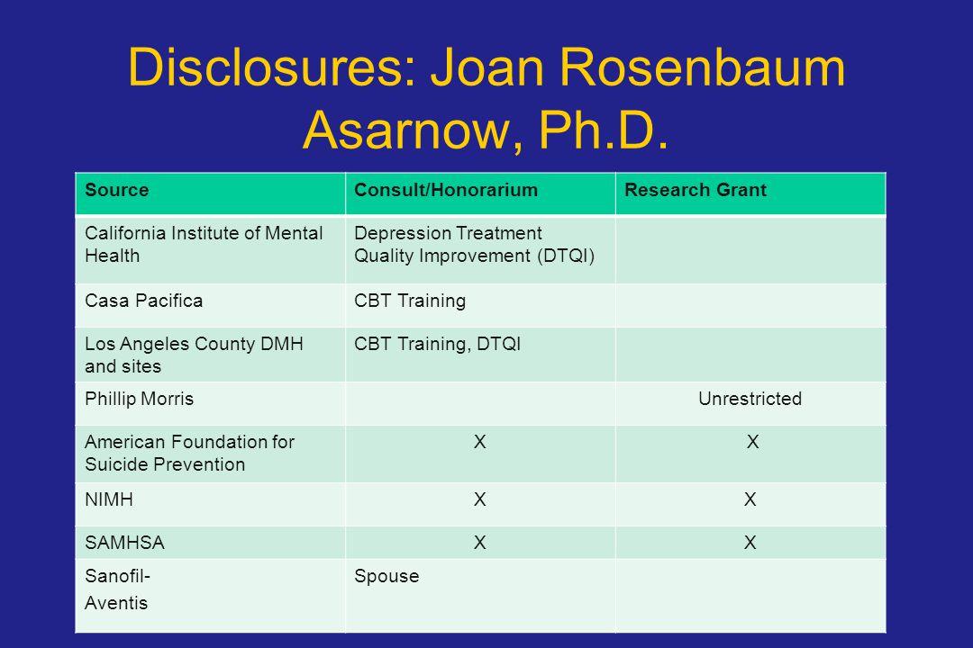 Disclosures: Joan Rosenbaum Asarnow, Ph.D.