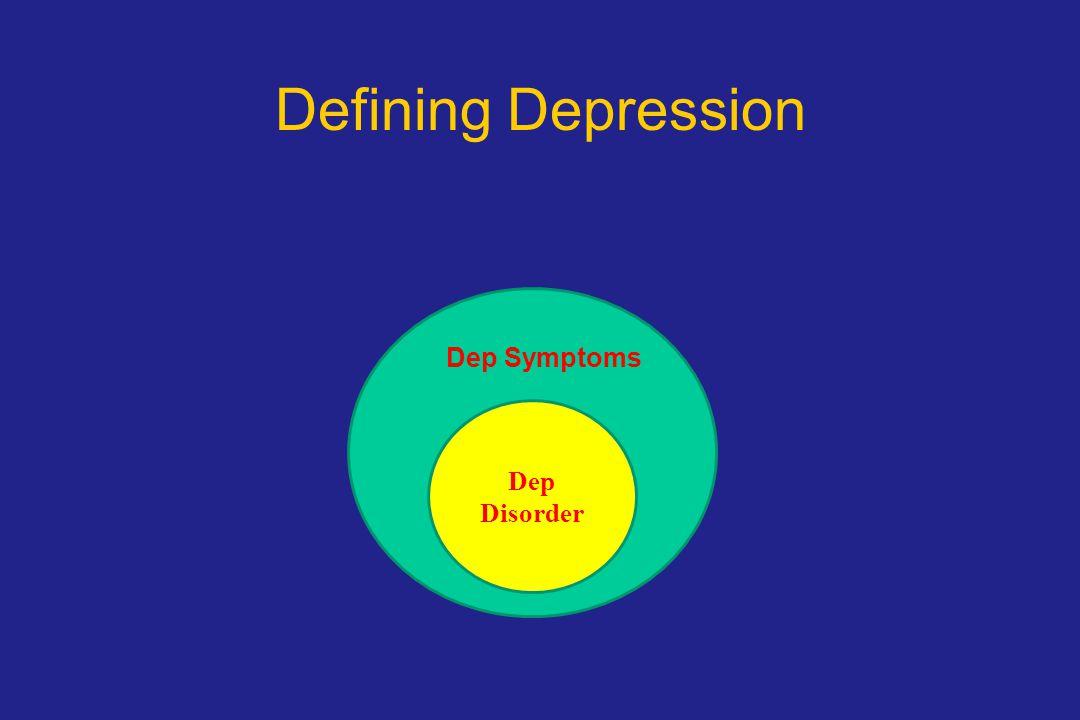 Defining Depression D Dep Disorder Dep Symptoms
