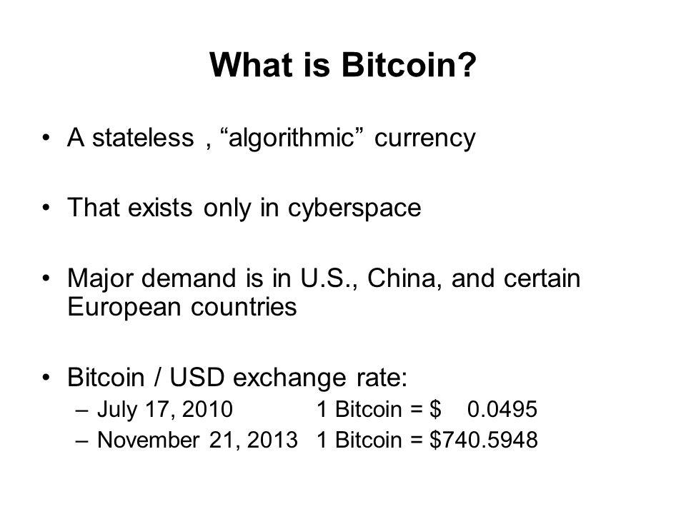 Bitcoin's appreciation vs.