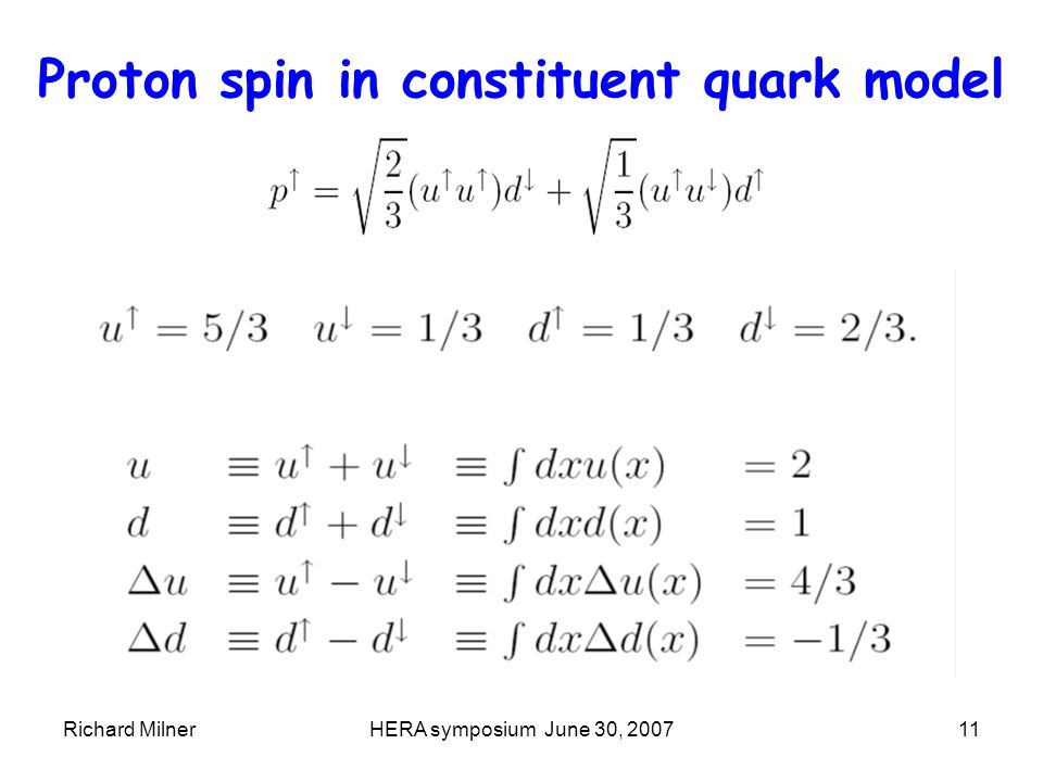 Richard MilnerHERA symposium June 30, 200711 Proton spin in constituent quark model