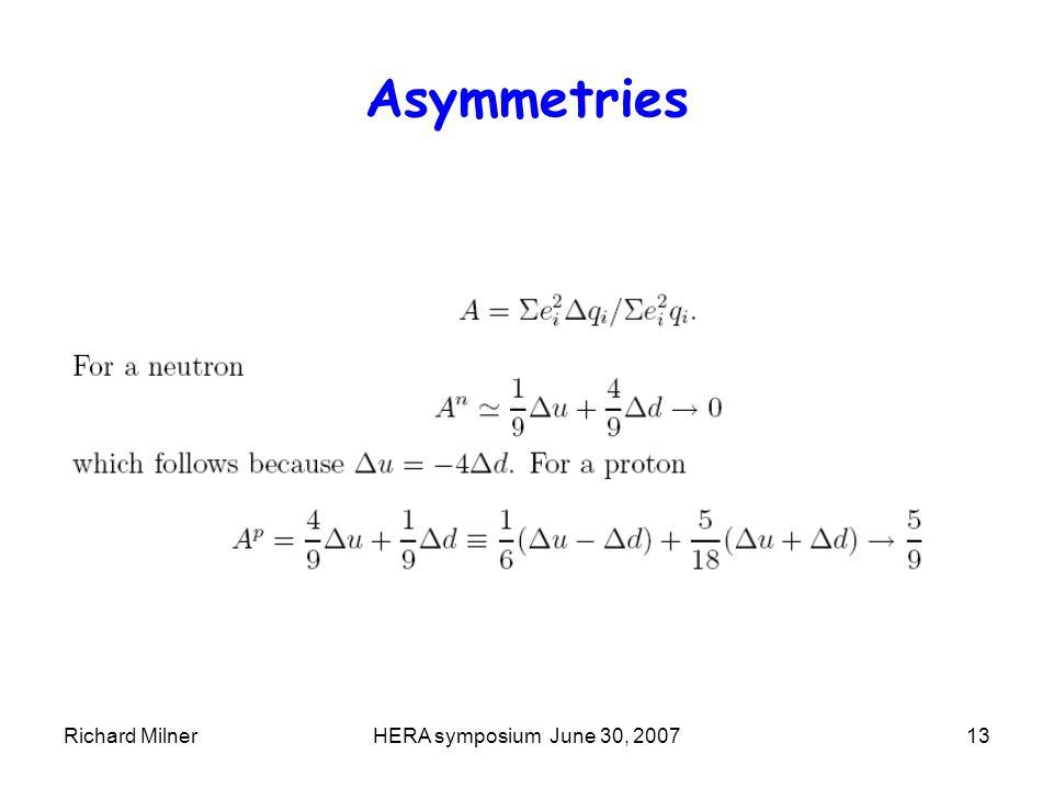 Richard MilnerHERA symposium June 30, 200713 Asymmetries