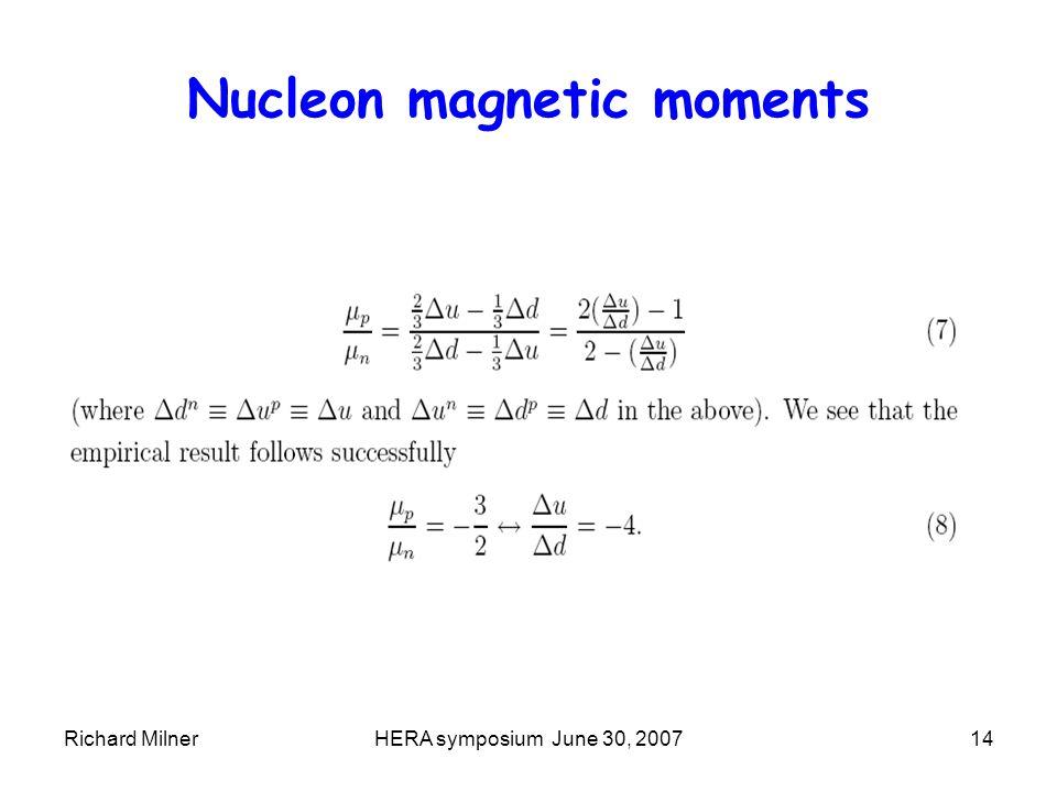 Richard MilnerHERA symposium June 30, 200714 Nucleon magnetic moments