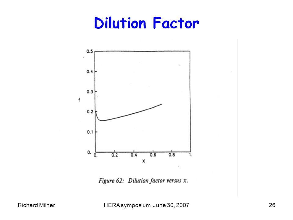 Richard MilnerHERA symposium June 30, 200726 Dilution Factor
