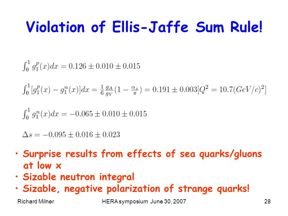Richard MilnerHERA symposium June 30, 200728 Violation of Ellis-Jaffe Sum Rule.