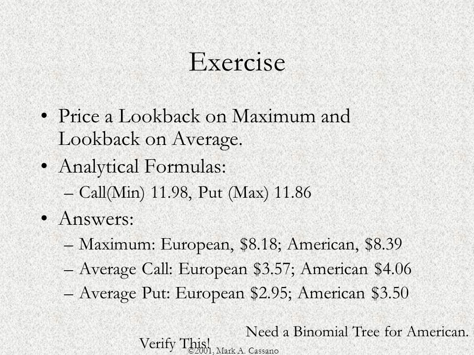 ©2001, Mark A. Cassano Exercise Price a Lookback on Maximum and Lookback on Average.