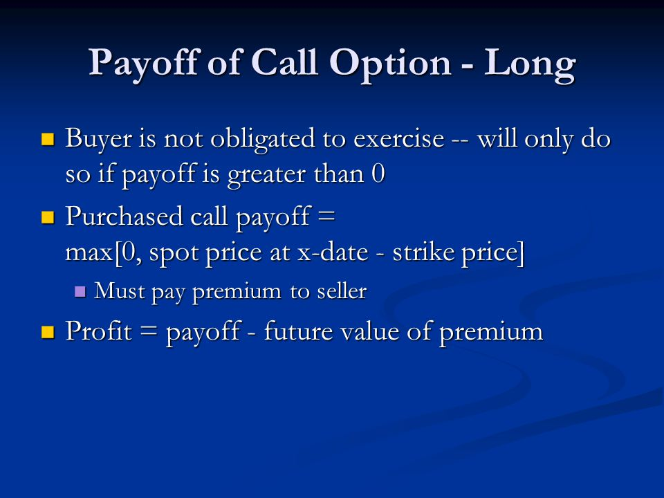 Payoff of Call Option - Long Buyer is not obligated to exercise -- will only do so if payoff is greater than 0 Buyer is not obligated to exercise -- w