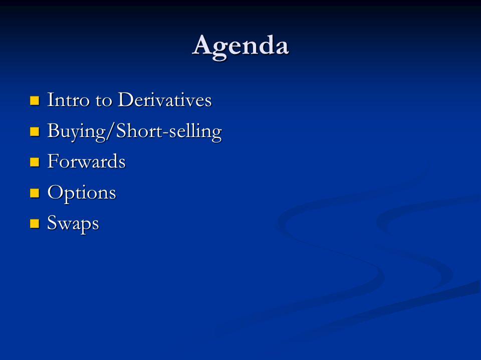 Agenda Intro to Derivatives Intro to Derivatives Buying/Short-selling Buying/Short-selling Forwards Forwards Options Options Swaps Swaps
