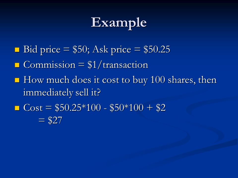 Example Bid price = $50; Ask price = $50.25 Bid price = $50; Ask price = $50.25 Commission = $1/transaction Commission = $1/transaction How much does