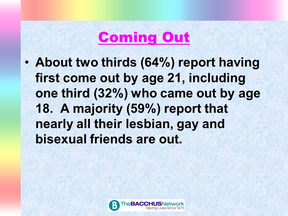Coming Out About two thirds (64%) report having first come out by age 21, including one third (32%) who came out by age 18. A majority (59%) report th