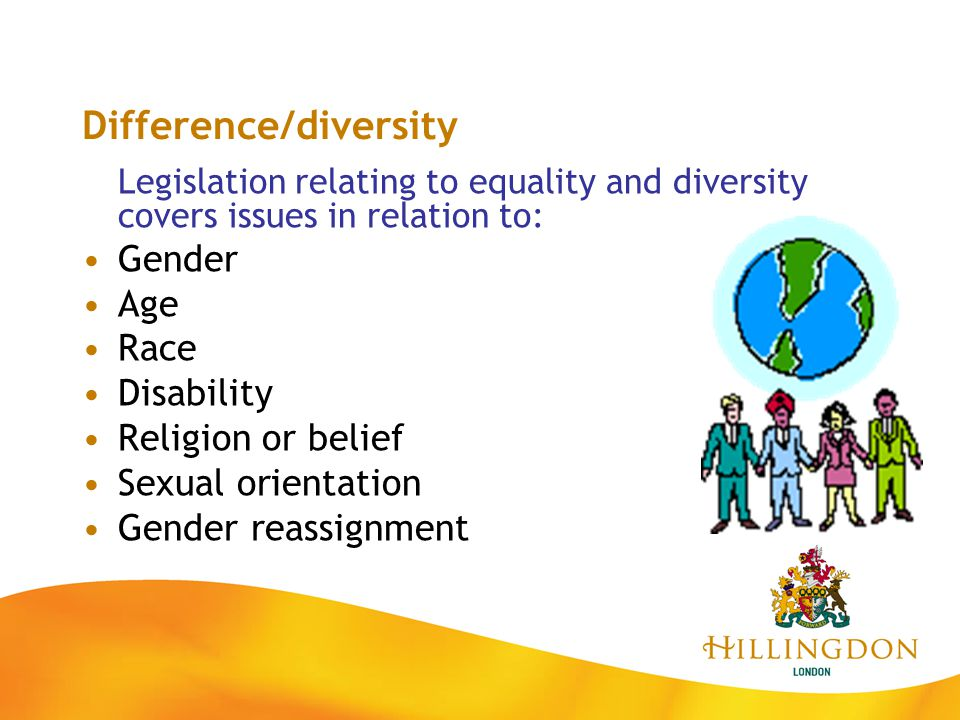 Difference/diversity Legislation relating to equality and diversity covers issues in relation to: Gender Age Race Disability Religion or belief Sexual