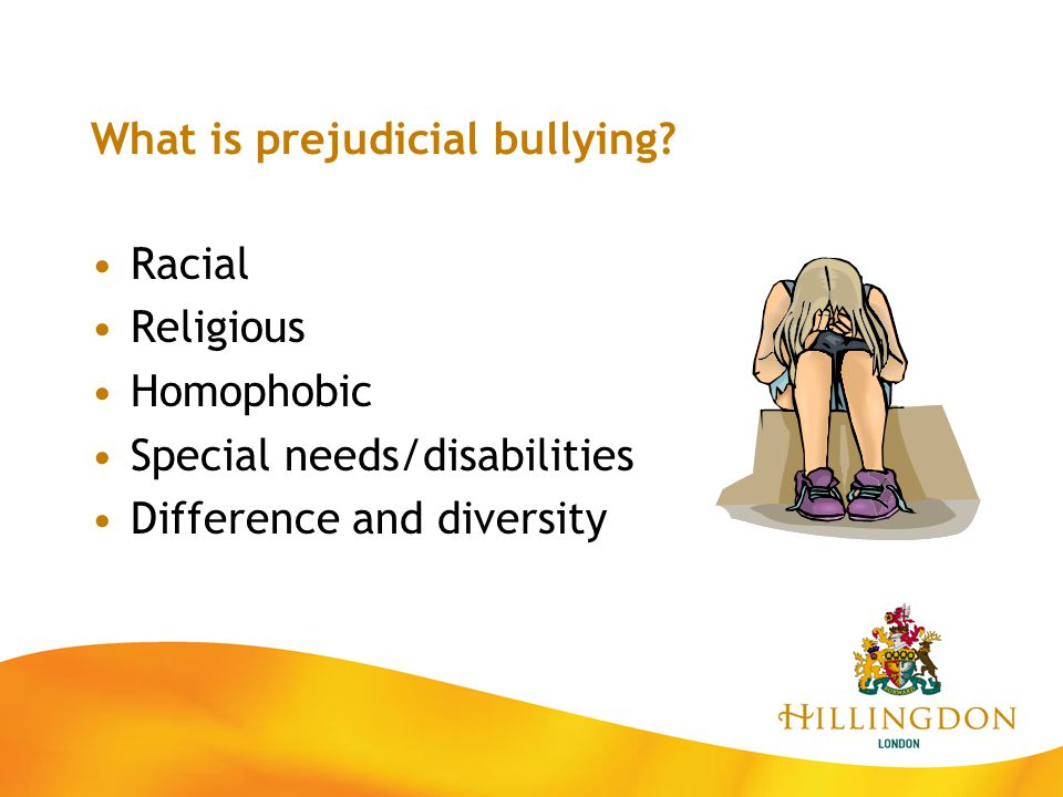 What is prejudicial bullying? Racial Religious Homophobic Special needs/disabilities Difference and diversity