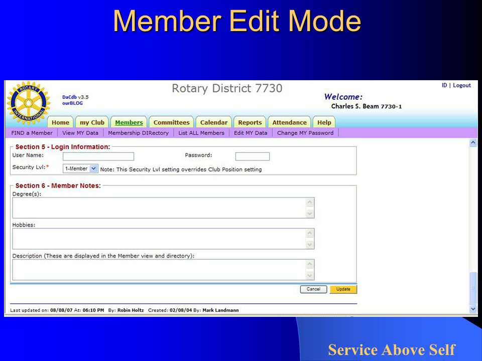 Member Edit Mode Service Above Self