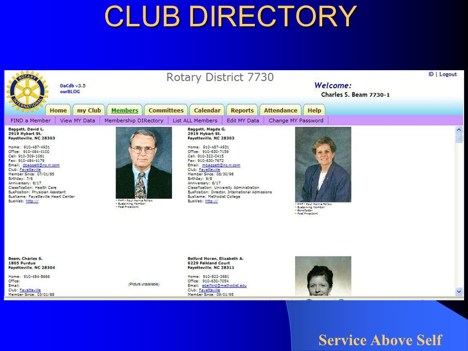 CLUB DIRECTORY Service Above Self