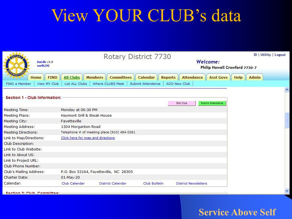 View YOUR CLUB's data Service Above Self